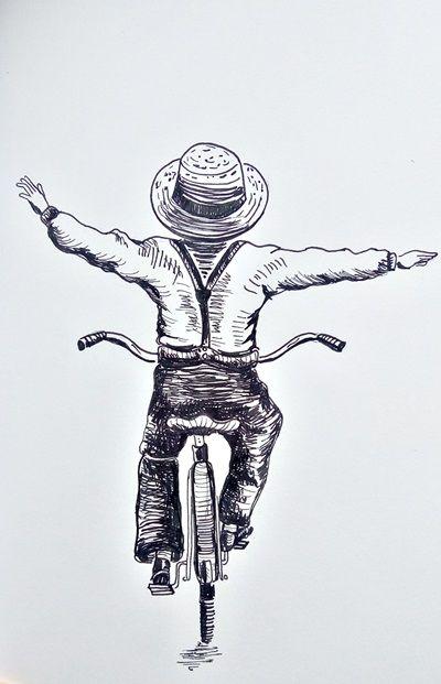 chłopak rysunek cienkopisami sakura pigma micron