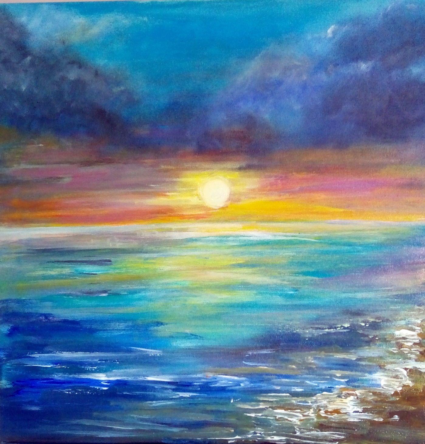jak namalować obraz akrylami zachód słońca