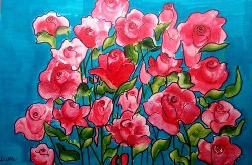 jak namalować farbami różę
