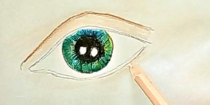 jak narysować oko kredkami