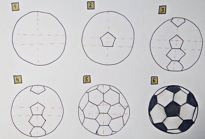 jak narysować piłkę nożną