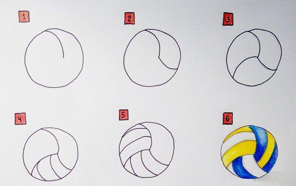 jak narysować piłkę do siatkówki