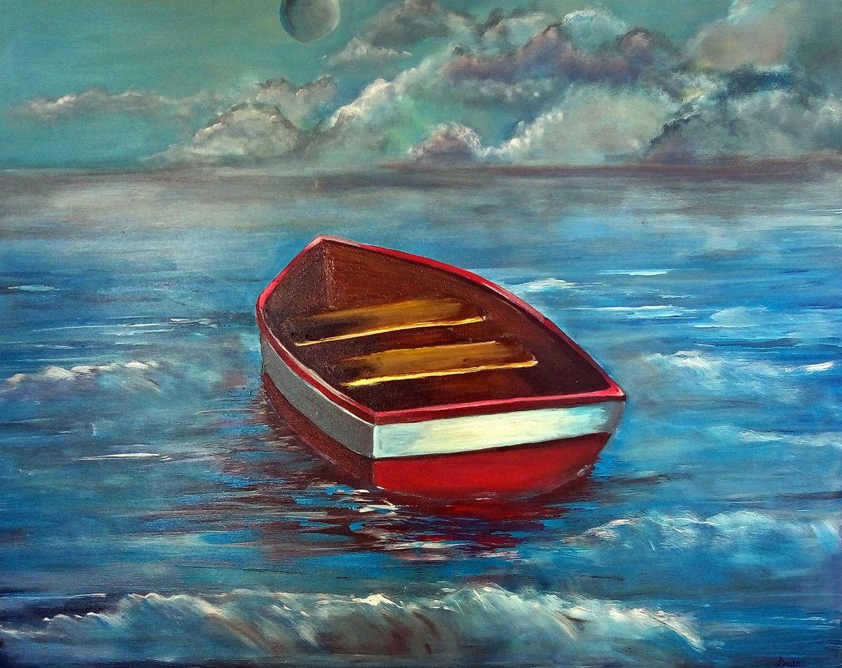 obraz łódki na morzu