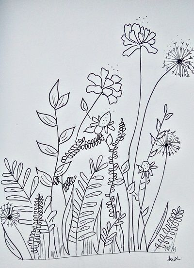 kwiaty rysunek cienkopisami
