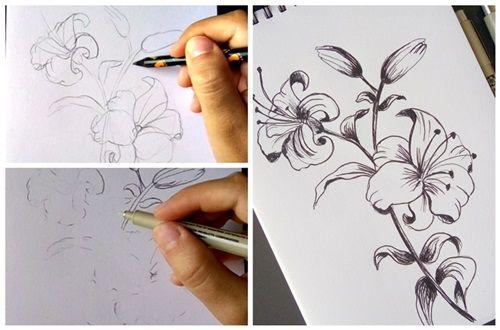 rysunek kwiatów cienkopisami
