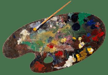 brak mieszania farb na palecie