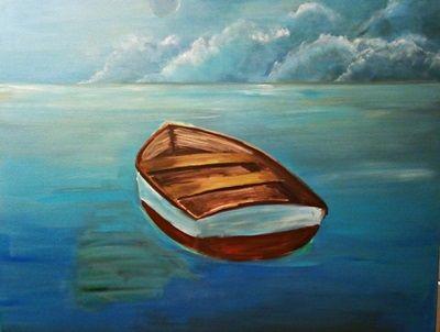 jak namalować obraz łódki na morzu