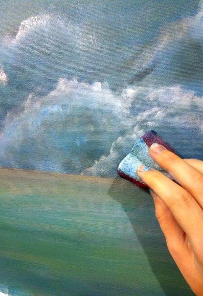 jak namalować chmury gąbką