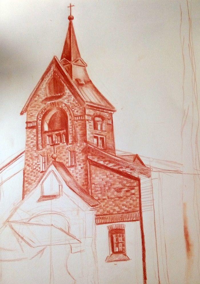 rysunek sangwiną kościoła