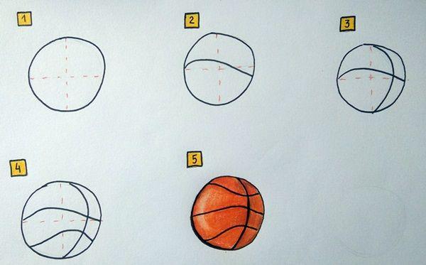jak narysować piłkę do koszykówki
